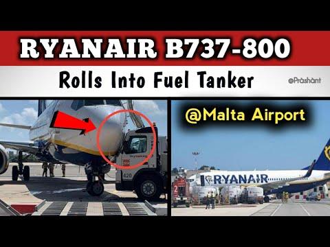 Un avión de Ryanair choca con varios camiones cisterna en el aeropuerto de Malta